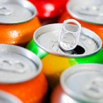 Cans of soft drinks